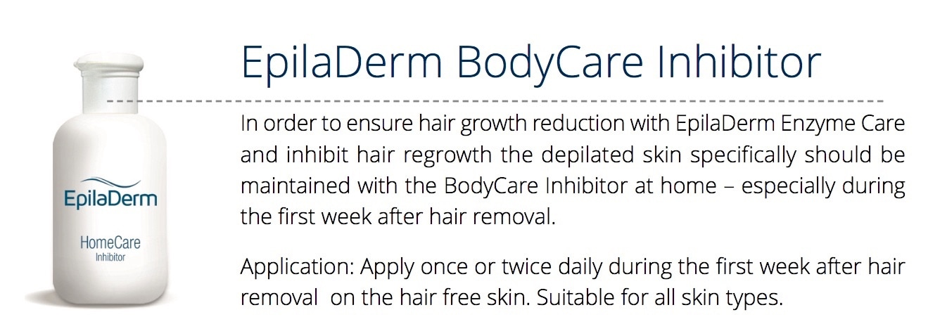 In order to ensure hair growth reduction with EpilaDerm Enzyme Care and inhibit hair regrowth the depilated skin specifically should be maintained with the BodyCare Inhibitor at home – especially during the first week after hair removal. Application: Apply once or twice daily during the first week after hair removal on the hair free skin. Suitable for all skin types.